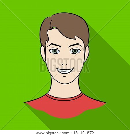Avatar of a man with brown hair.Avatar and face single icon in flat style vector symbol stock web illustration.