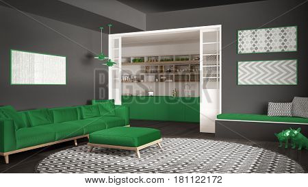 Minimalist living room with sofa big round carpet and kitchen in the background gray and green modern interior design, 3d illustration