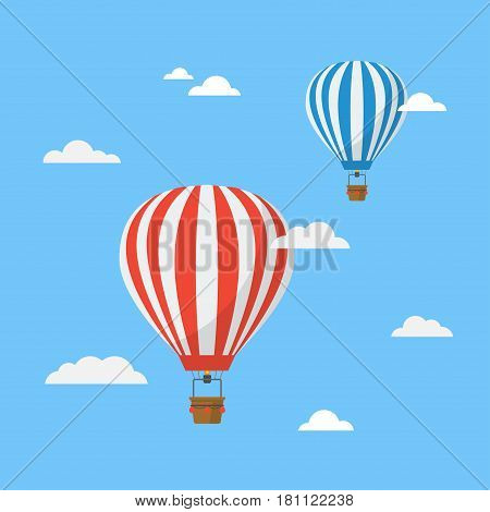 Hot air balloons in the sky vector illustration. Colorful, striped balloons on a blue background. Classic icon air balloons with a basket isolated from the background.