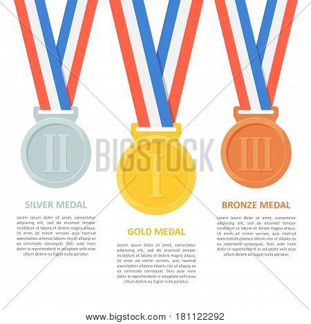 Medals vector set on white background. Poster or infographic with gold, silver and bronze medals. Award medals on ribbons for the first, second and third places in a flat style.