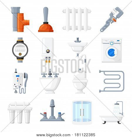 Plumbing equipment and tools vector icons. Plumbing for a bath, toilet or kitchen on a white background. Home electrical heating plumbing in flat style.