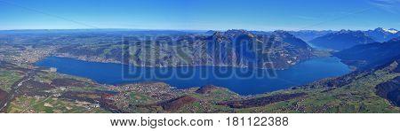 Lake Thunersee seen from mount Niesen. Landscape in the Bernese Oberland Switzerland.