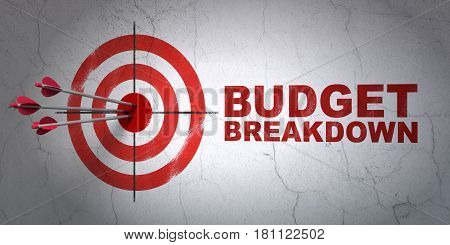 Success business concept: arrows hitting the center of target, Red Budget Breakdown on wall background, 3D rendering