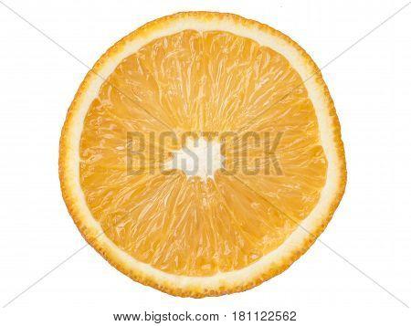 highly detailed juicy orange slice isolated on white