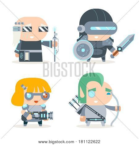 Sci-fi Fantasy Techno Knight Cybernetic Technomage Programmer Engineer Game Character Vector Icons Set Vector Illustration