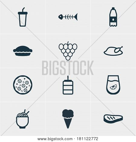 Vector Illustration Of 12 Food Icons. Editable Pack Of Muscat, Skeleton, Sundae And Other Elements.