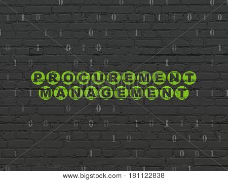 Finance concept: Painted green text Procurement Management on Black Brick wall background with Binary Code