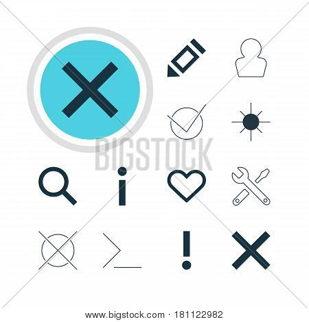 Vector Illustration Of 12 User Icons. Editable Pack Of Alert, Cancel, Pen And Other Elements.