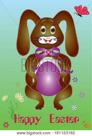 Cheerful rabbit with easter egg meadow vector