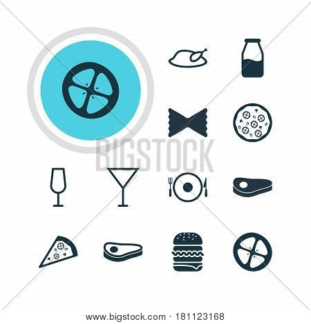Vector Illustration Of 12 Cuisine Icons. Editable Pack Of Cruet, Pizzeria, Farfalle And Other Elements.