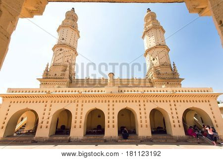 SRIRANGAPATNA, INDIA - FEB 18, 2017: Tall minarets of historical Jama Masjid with arches and open court in the front on February 18, 2017. Tippu Sultan built this masjid in 1784