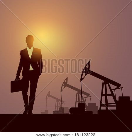 Business Man Pumpjack Oil Rig Crane Platform Banner Flat Vector Illustration
