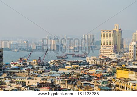 Macau harbor area and cityscape in macau china