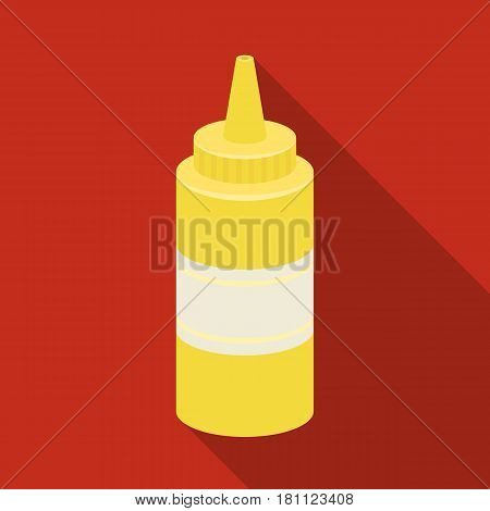 Bottle with mustard.Burgers and ingredients single icon in flat style vector symbol stock web illustration.