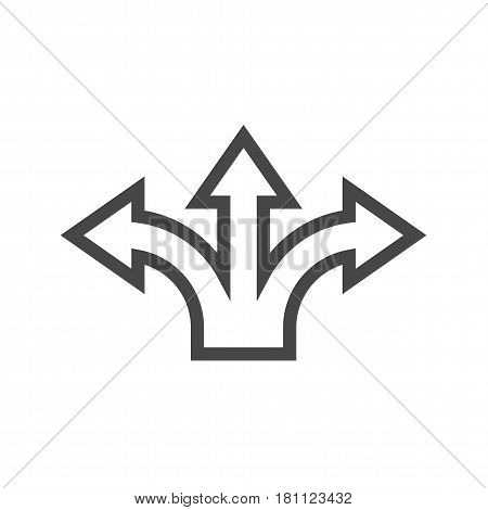 Three-Way Direction Arrow Thin Line Vector Icon. Flat icon isolated on the white background. Editable EPS file. Vector illustration.