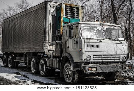 Truck, lorry, truck with a trailer, semi trailer truck, old gray lorry, refrigerator, truck tractor