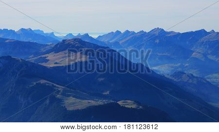 Evening scene in the Bernese Oberland. View from mount Niesen.