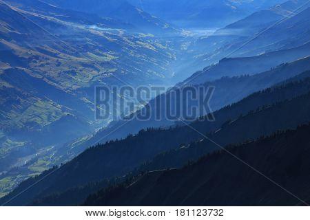 Mountain ridges in the Entschligental Bernese Oberland. View from mount Niesen.