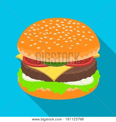 Ready burger with all the ingredients.Burgers and ingredients single icon in flat style vector symbol stock web illustration.