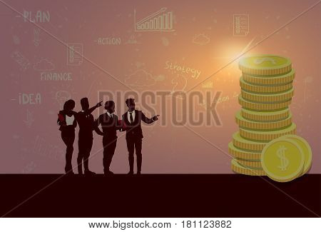 Silhouette Business People Team Success Finance Money Wealth Flat Vector Illustration
