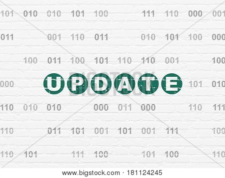 Web design concept: Painted green text Update on White Brick wall background with Binary Code