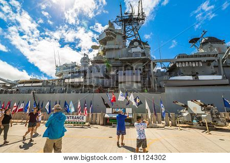 HONOLULU, OAHU, HAWAII, USA - AUGUST 21, 2016:flags of USS Missouri BB-63 warship at Pearl Harbor base. entered Tokyo Bay on 29 August for signing by Japan of official instrument of surrender.