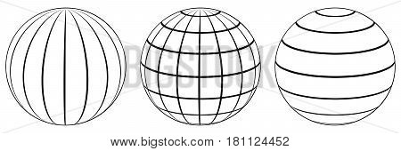 Set spheres globe earth grid, horizontally and vertically, latitude and longitude. Vector globe
