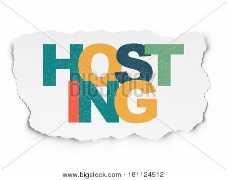 Web development concept: Painted multicolor text Hosting on Torn Paper background