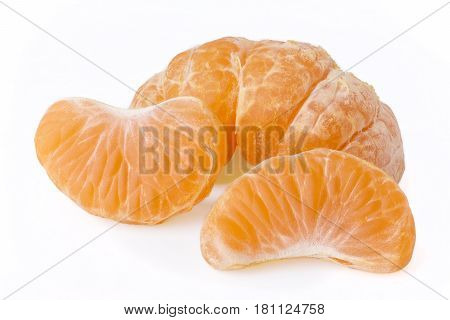 group of tangerine segments isolated on white background stacked focus image