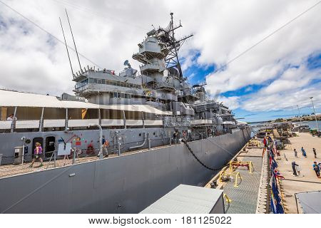 HONOLULU, OAHU, HAWAII, UNITED STATES - AUGUST 21, 2016: Missouri warships Memorial USS BB-63 in Pearl Harbor Honolulu Hawaii, Oahu island of United States. National historic patriotic landmark.