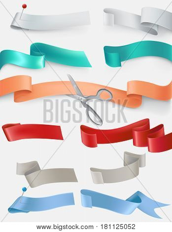set of satin ribbons in different colors cut by scissors. Design element.