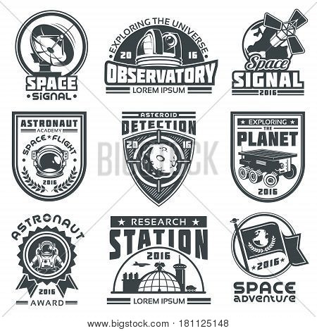 Set of badges about space. Elements of design, badges, logo and emblem on a white background. The concept of space travel