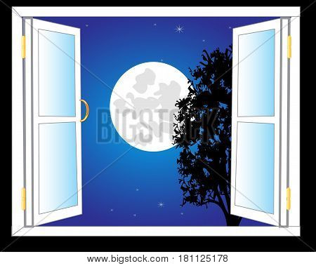 Open window with view on moon night and stars