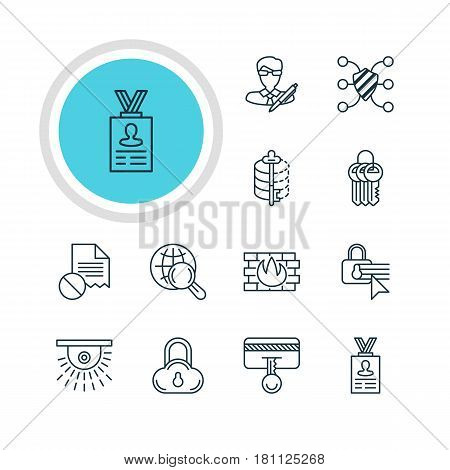 Vector Illustration Of 12 Data Icons. Editable Pack Of Encoder, Network Protection, Data Error And Other Elements.