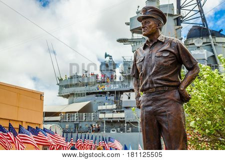 HONOLULU, OAHU, HAWAII, USA - AUGUST 21, 2016: bronze statue of Commander in chief of Pacific Fleet, Chester W. Nimitz who lead America to prevail in the Pacific sea against the Japan.