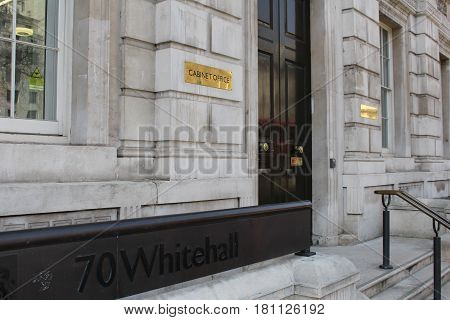 London, April 2017 -  A sign outside the Cabinet Office, a department of the United Kingdom government located in Whitehall, London