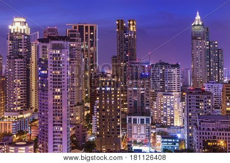 abstract urban night cityscape on twilight time - can use to display or montage on product