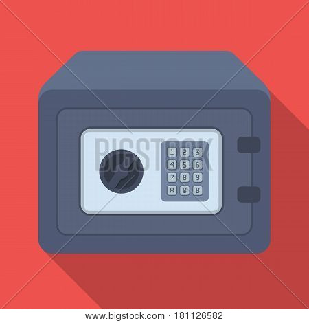 Realistic Steel safeSafe under combination lock. Metal box is hard to open.Detective single icon in flat style vector symbol stock web illustration.