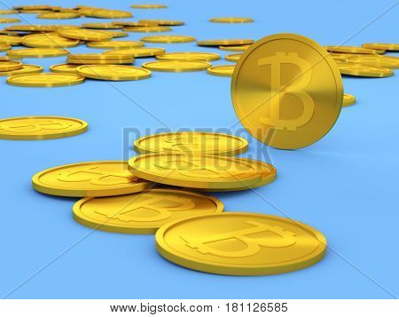 Coins bitcoin. 3d rendering. bitcoin equipment,  money,