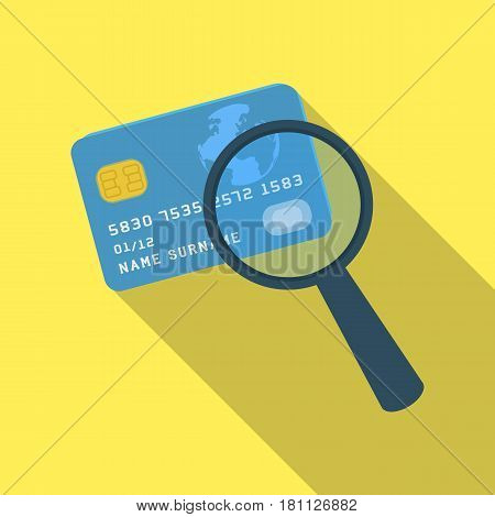 Plastic credit card with a magnifying glass. Detective looking for fingerprints.Detective single icon in flat style vector symbol stock web illustration.