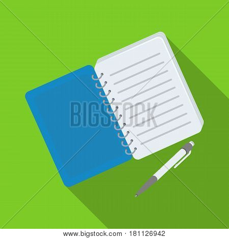 Paper notebook detective. Notepad to record readings, to solve the crime.Detective single icon in flat style vector symbol stock web illustration.
