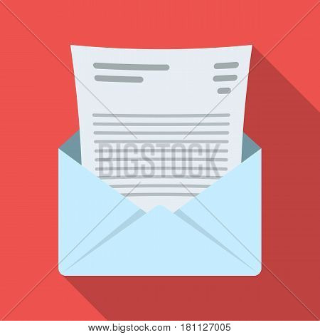 The envelope with the letter inside.A letter for the detective.Detective single icon in flat style vector symbol stock web illustration.