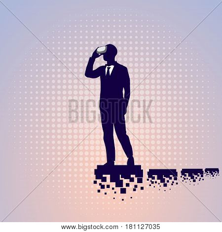 Silhouette Business Man Wear Virtual Reality Digital Glasses Flat Vector Illustration
