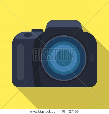 Camera detective. Camera, for shooting the scene, and to commit murder.Detective single icon in flat style vector symbol stock web illustration.