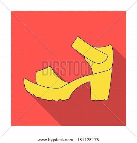 Women summer white sandals on a bare foot.Different shoes single icon in flat style vector symbol stock web illustration.