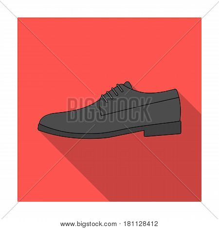 Mens leather shiny shoes with laces. Shoes to wear with a suit.Different shoes single icon in flat style vector symbol stock web illustration.