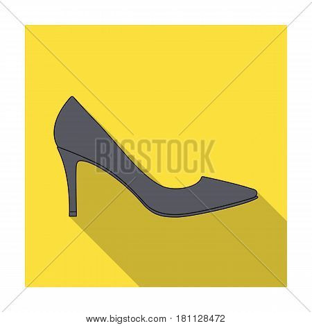 Black womens highheeled shoes exit in a dress.Different shoes single icon in flat style vector symbol stock web illustration.