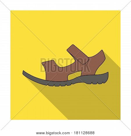 Men summer brown leather sandals on a bare foot.Different shoes single icon in flat style vector symbol stock web illustration.