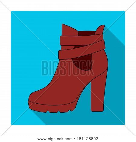 High women red shoes for everyday wear .Different shoes single icon in flat style vector symbol stock web illustration.