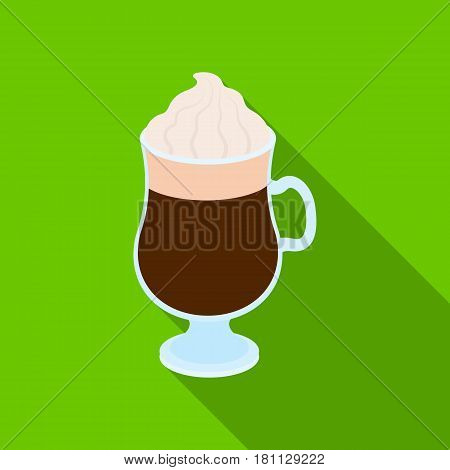 Cup of Irish coffee.Different types of coffee single icon in flat style vector symbol stock illustration .